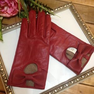 Merona red leather bow gloves